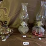 #130 Oil Lamps  #1 Antique  #2 and #3 newer   each one $10.00