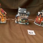 #47  Christmas Villages house with cord joining all three  $10.00