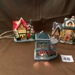 #48 SOLD 3 Christmas house with cords  $12.00 for all three