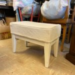#83 SOLD White Upholstered bench $10.00