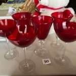 #90 Six Red stemmed glasses 2 sizes $6.00 for all