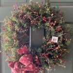 #97 SOLD Beautiful Artificial Christmas Wreath Cranberry and Gold Berries $15.00